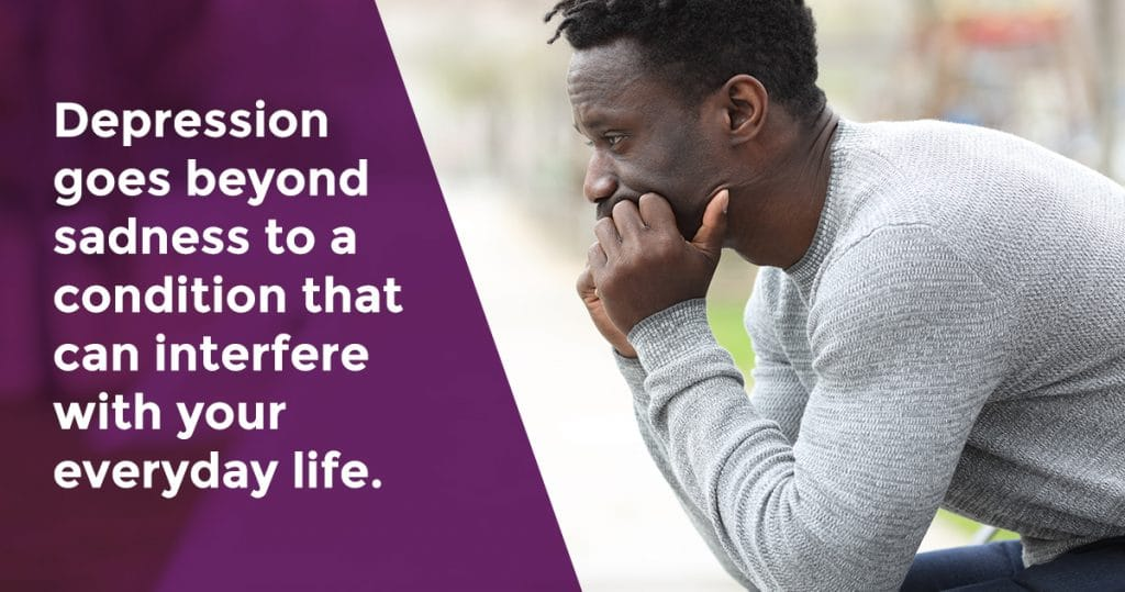 Image of a man sitting in a thinking position with his hands on his chin. A caption reads: Depression goes beyond sadness to a condition that can interfere with your everyday life.